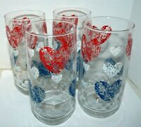 Anchor Hocking Glass Tumblers Hearts Red White Blue Set of 4 Iced Tea Farmhouse