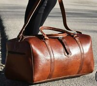Rustic Tobacco Brown Genuine Calfskin Leather Weekender Duffel Overnight Gym Bag