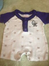 Colorado Rockies Baseball Short Sleeve Boys Romper Purple White 0-3 Months