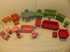 Lot of Vintage Dollhouse Strombecker Kage Furniture Solid Wood Green Red Pink