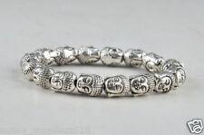Tibet Silver Buddha Chinese Handwork Amulet Elastic Bracelet