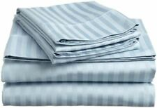EXT PKT 1 Fitted Sheet+ 2 Pillow Case Egyptian Cotton 1000 TC Light Blue Striped