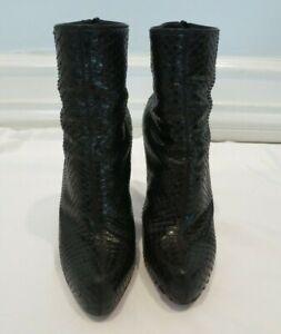 CHRISTIAN LOUBOUTIN black snakeskin bootie size 37 US 7