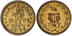 1909 PCGS MS62 Alaska Gold 1/4 PW X-Tn2 **Fantastic Specimen!** 44687