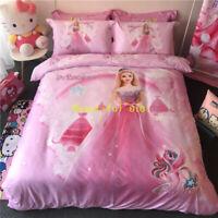 Single/Queen/King Bed Doona Quilt Duvet Cover Set 100% Cotton Princess Barbie