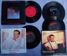 """GARY NUMAN x3 7"""" + FLEXI We Are Glass / Call Out The Dogs / This Is Love SYNTH"""