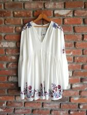 FREE PEOPLE~NWT  Crinkle Gauze Embroidered Oversized Bohemian Hippie Dress ~ S