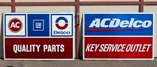 "Vintage AC Delco GM Quality Parts & Key Service Outlet Sign 24"" x 36"" Metal"