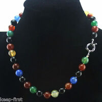 """Handmade 8mm Natural Multicolor Agate Round Gemstone Beads Necklace 18"""" AAA"""