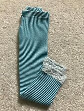 Girl's TEA COLLECTION Teal/White Striped Leggings - Size 5