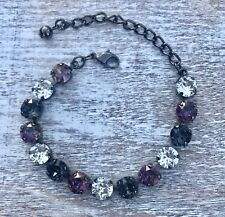 Crystal Bracelet Hematite Plate Made W/ Swarovski Elements Black Diamond Purple