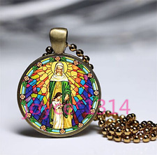 Glass Chain Pendant Necklace Ts-3401 Our Lady of Guadalupe Cabochon bronze
