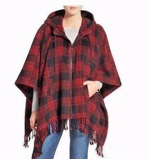 Steve Madden front zip red Buffalo plaid hooded Poncho cape MEDIUM