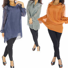Damenblusen, - tops & -shirts mit Wasserfall-Ausschnitt aus Viskose ohne Muster
