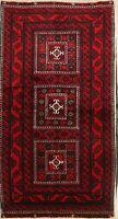 One-of-a-Kind Geometric Balouch Afghan Oriental Hand-Knotted 4'x6' Red Wool Rug