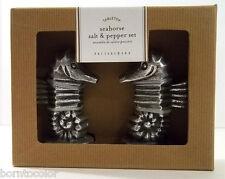 Pottery Barn SEAHORSE SALT & PEPPER SHAKERS- NIB Cast Aluminum