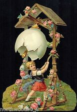 EASTER BELL EGG TOWER TRELLIS RING CHILD ROSES FLORAL GERMANY SCRAP LARGE CARD