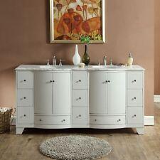 "72"" Double Basin Bathroom Vanity Cabinet Carrara Marble Stone Top Cabinet 292W"