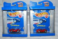 LOT OF 2 HOT WHEELS 1993 BLUE CARD 30 YEARS DODGE VIPER RT/10 #210 1:64 NEW