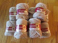 12 Skeins Fleisher's  Melody Fine Wool Knitting Yarn Light Tan w/Wrappers  #419