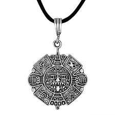 Sterling Silver .925 Aztec Calendar Charm Pendant  Oxidized 30mm | Made in USA