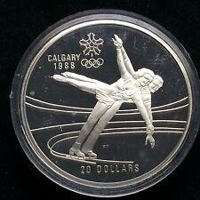 1988 CALGARY OLYMPICS CANADA ELIZABETH 20 DOLLARS SILVER RARE FIGURE SKATING h83