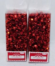 (2) Strands 16 Foot Red Beaded Garland (New In Boxes)