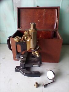 ANTIQUE BAUSCH & LOMB  BRASS  & IRON MICROSCOPE 3 Scopes one extra WITH CASE