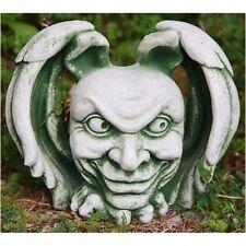 Cabeza de Gargoyle figura de piedra moldeada Místico, verde PATINADO,
