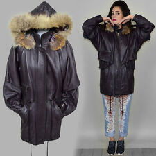 Vintage Fur Hooded Parka Plum Smooth Leather Jacket Coat Cape Draped 80s Batwing