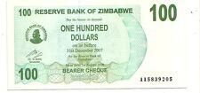 Zimbabwe 100 dollars 2006 bearer cheque   FDS  UNC    pick 42    lotto 3609