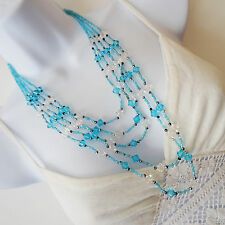 Beautiful multi-strand turquoise blue glass seed bead necklace [1253]