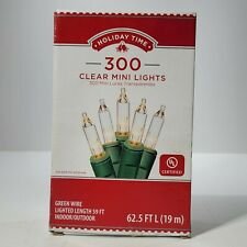 Holiday Time 300PK Clear Mini Lights Green  Wire  62.5 FT Indoor Outdoor UL List