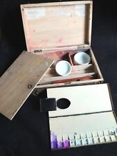 Ancienne petite mallette de peinture palette peintre écolier en bois déco