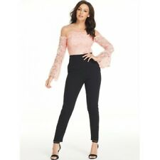 4d5f268c9752 Michelle Keegan Lace Body Tapered Leg Jumpsuit 8 Black Pink Trouser Dress  BNWT