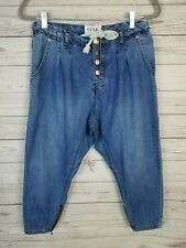 One Teaspoon Super Tough Harem Drop Crotch Zip Ankle Crop Tapered Jeans Sz 25