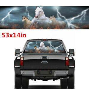 135x36cm White Running Horse Galloping Graphic Stickers Fit For Car Truck SUV