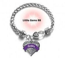 SILVER PURPLE SISTER PAVE HEART CHARM BRACELET 7.5 INCHES CLEAR ZIRCONIA STONES