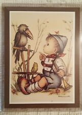 "HUMMEL Wooden Picture Plaque Little Boy with Bird  7"" x 5"""
