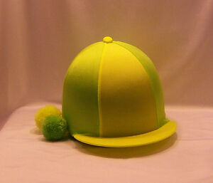 RIDING HAT COVER - FLUORESCENT YELLOW & FLUORESCENT LIME