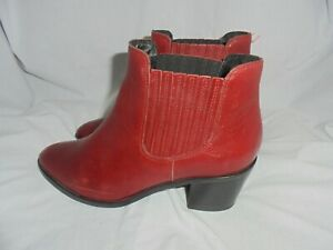CLAUDIE PIERLOT WOMEN RED LEATHER ELASTICATED ANKLE BOOT SIZE UK 5 EU 38 VGC