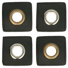 1 Paar (2 Stk.) Ösen auf Kunstleder schwarz - ca. 36x36 mm - Metallösen 2 Farben