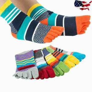 USA Stock 5 Pack Men Five Finger Toe Socks Cotton Casual Multicolor Crew Breathe