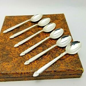 Vintage Angora Silver Plated Art Deco Teaspoon Set with Case