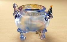 Crystal Liuli cauldron, Coloured glaze tripod, Chinese Fengshui arts crafts gift