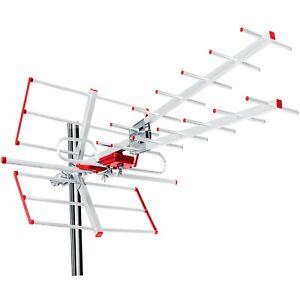 Antena de TV Exterior Direccional DVB-T Combo UHF VHF Activo 100dBμV Filtro Lte