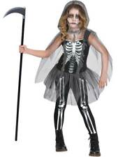 Girls Skeleton Grim Reaper Costume Childs Halloween Scary Ghoul Fancy Dress Kids