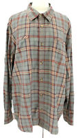 Carbon 2 Cobalt Mens XL Plaid Button Front Shirt Brown Taupe Cotton