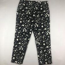 Banan Republic Womens Sz 6 Cropped Black White Floral Pants