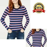 3Hooked Up by IOT Juniors' Shine Striped Rib-Knit Women Sweater Crew Neck